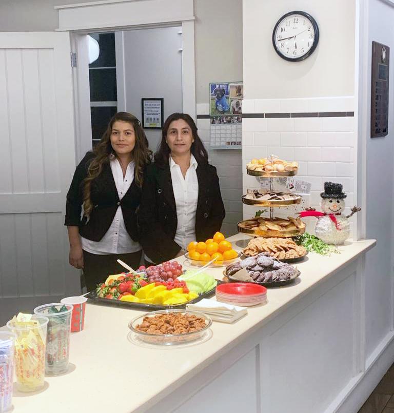 waitresses serving food